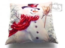 CUSHION COVER PILLOW SNOWMAN WITH A RED SCARF